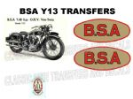 BSA Y13 Transfer Decal Set DBSA204